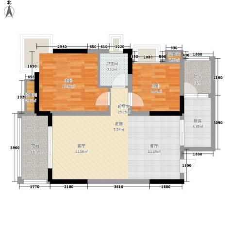 蓝色星空2室0厅1卫1厨73.00㎡户型图