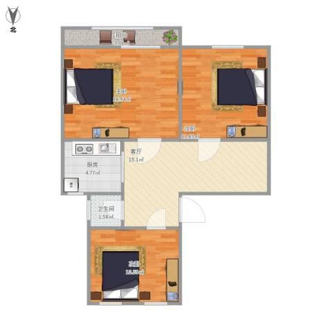 工人新村3室1厅1卫1厨88.00㎡户型图