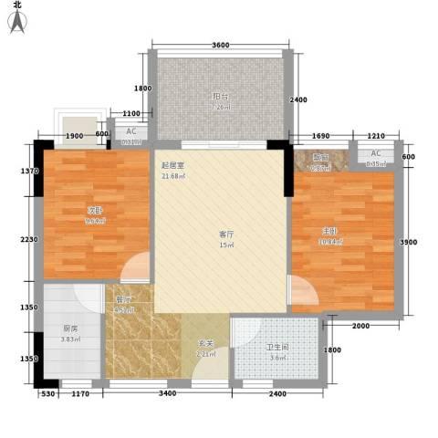东方蓝城一号2室0厅1卫1厨65.55㎡户型图