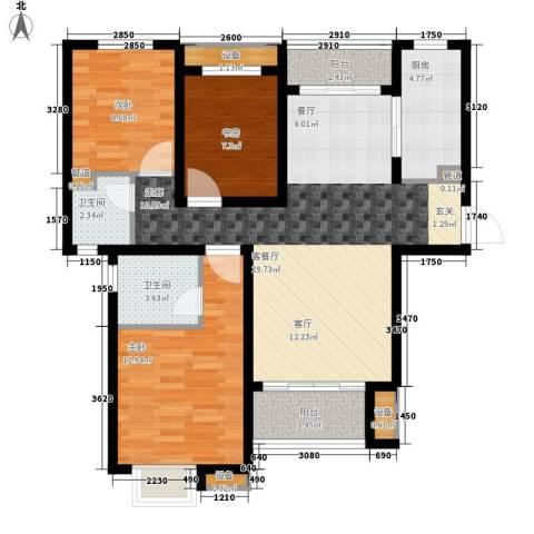 银丰唐郡・紫薇园3室1厅2卫1厨128.00㎡户型图