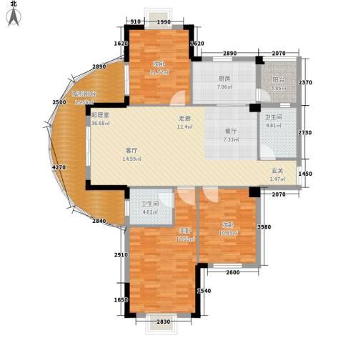 路安花苑3室0厅2卫1厨130.00㎡户型图