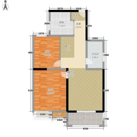 书香门第2室1厅1卫1厨124.00㎡户型图