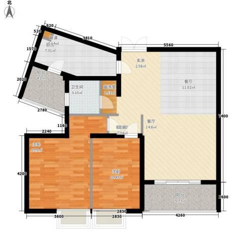 云河湾2室1厅1卫1厨95.00㎡户型图