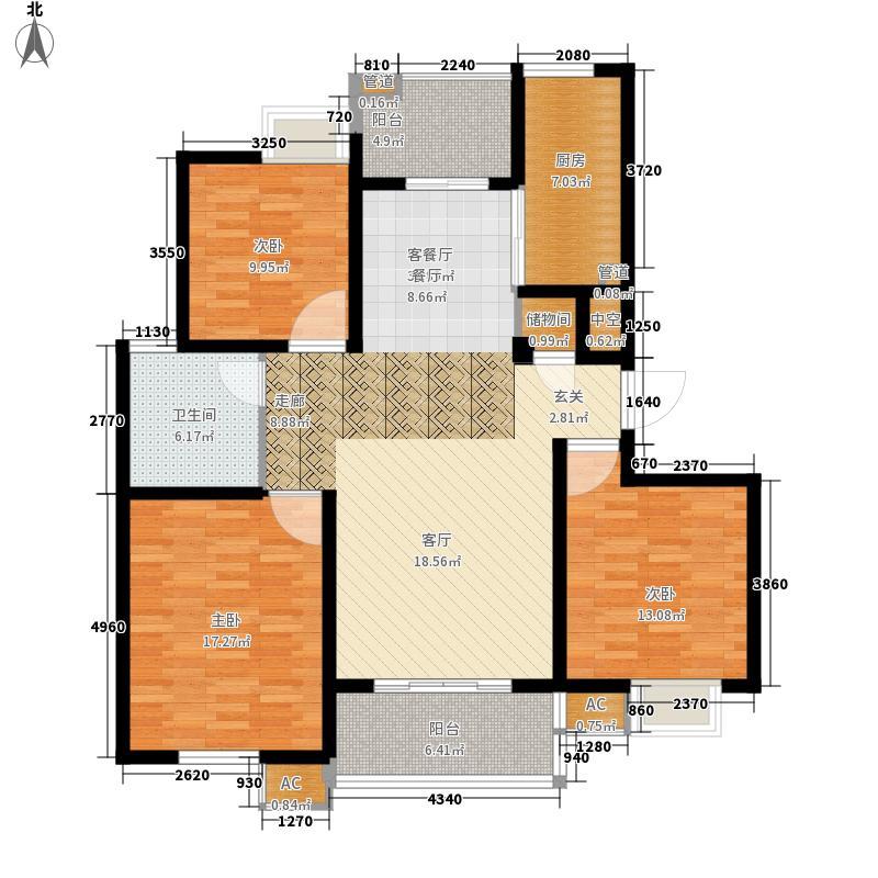 新创理想城123.00㎡新创理想城户型图理想城118.70-123.433室2厅1卫户型3室2厅1卫