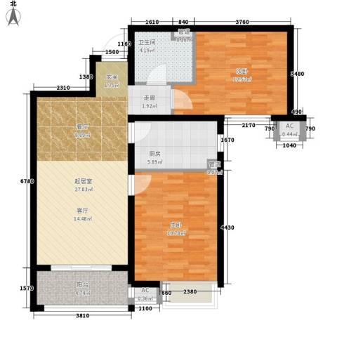 河风雅苑2室0厅1卫1厨80.00㎡户型图