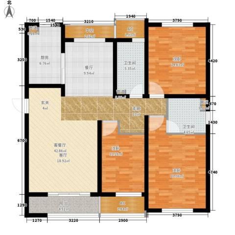 新创理想城3室1厅2卫1厨130.00㎡户型图