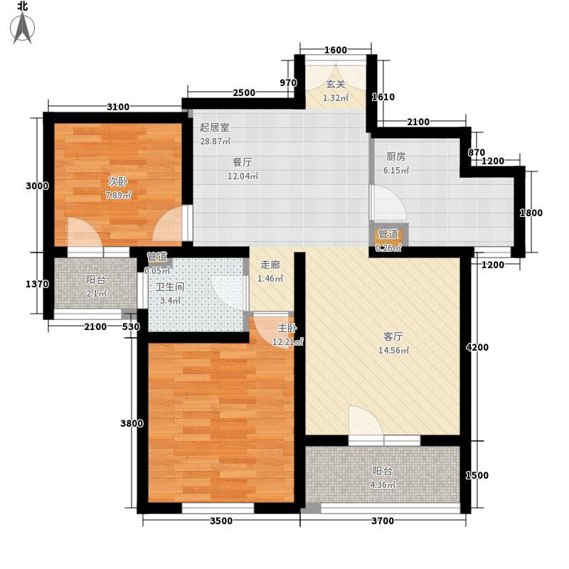 朗诗南门绿郡88.00㎡朗诗南门绿郡户型图1号楼E1户型2室2厅1卫1厨户型2室2厅1卫1厨