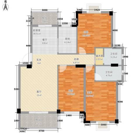 路安花苑3室0厅2卫1厨129.00㎡户型图
