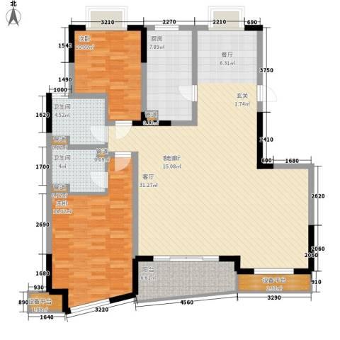 世纪东山2室1厅2卫1厨124.00㎡户型图