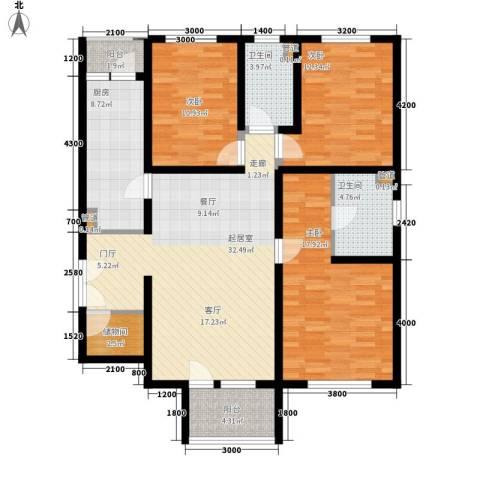 朗诗南门绿郡3室0厅2卫1厨141.00㎡户型图