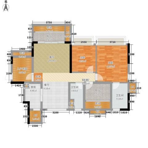 乐湾首府2室1厅2卫1厨104.00㎡户型图