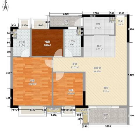 海港新城3室0厅2卫1厨93.90㎡户型图