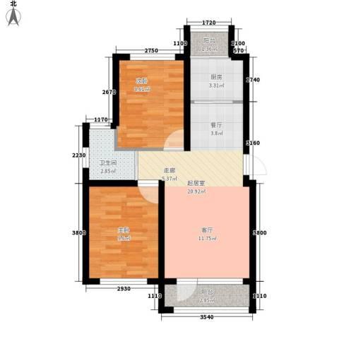 新星宇・之悦2室0厅1卫1厨85.00㎡户型图