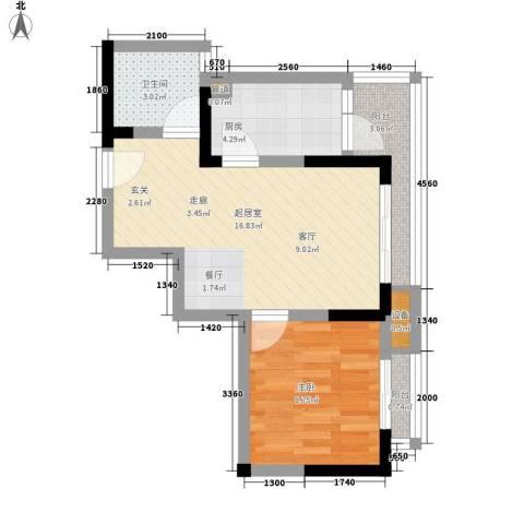 金阳牛津街小区1室0厅1卫1厨38.00㎡户型图