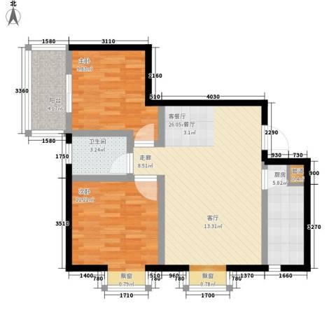 新福兴・面孔公社2室1厅1卫1厨80.00㎡户型图