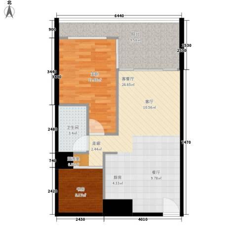 悉尼绿地中心2室1厅1卫0厨64.00㎡户型图