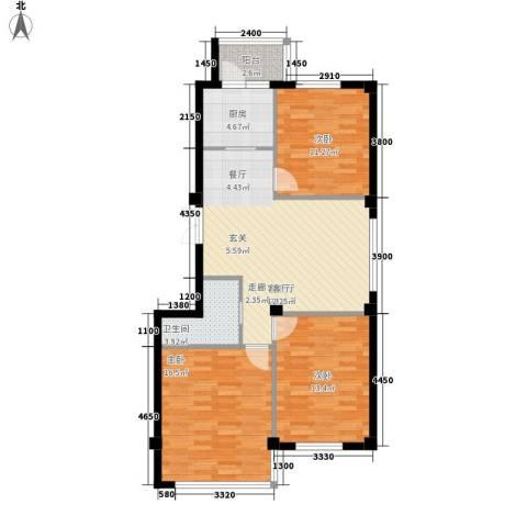 博林印象3室1厅1卫1厨85.76㎡户型图