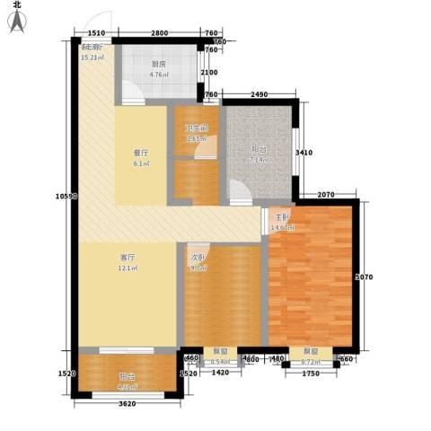 新福兴・面孔公社2室1厅1卫1厨97.00㎡户型图