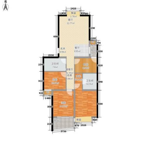 新西蓝一期3室1厅2卫0厨136.00㎡户型图