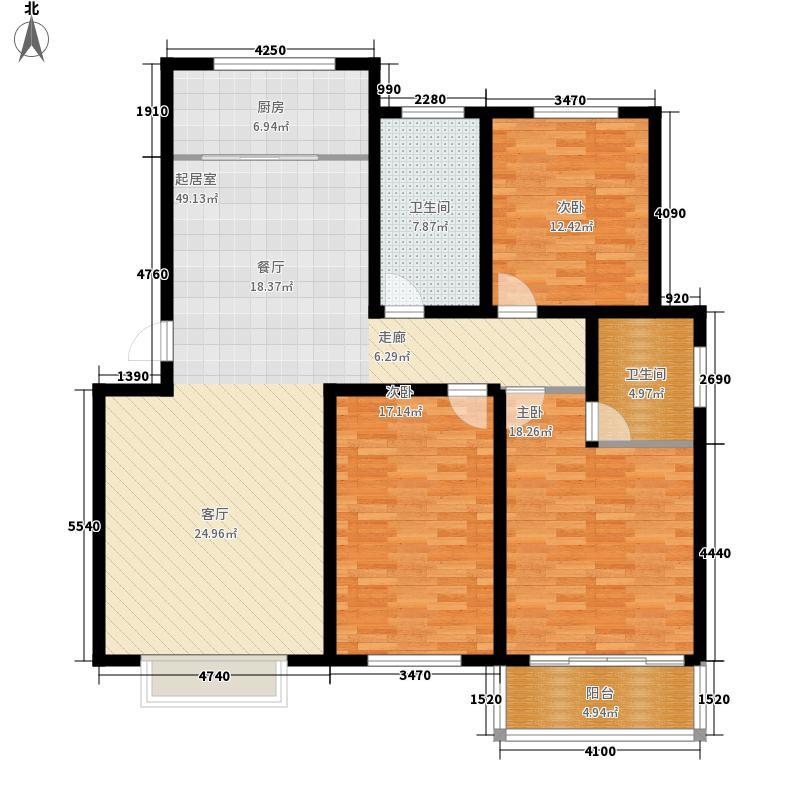 济南玫瑰园新城137.02㎡济南玫瑰园新城户型图多层C3室2厅2卫户型3室2厅2卫