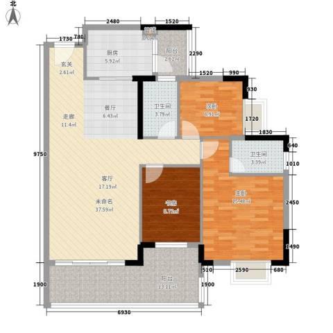 加洲花园3室0厅2卫1厨137.00㎡户型图