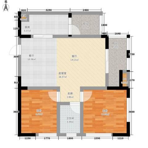 御锦江都2室0厅1卫1厨91.00㎡户型图