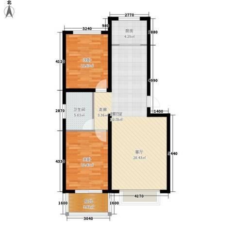 济南玫瑰园新城2室0厅1卫1厨83.00㎡户型图