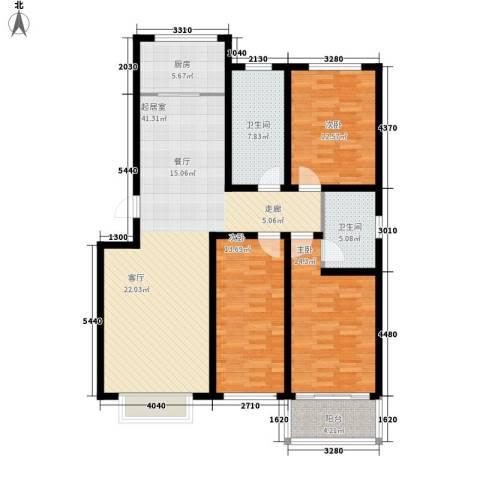 济南玫瑰园新城3室0厅2卫1厨120.00㎡户型图