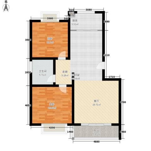 济南玫瑰园新城2室0厅1卫1厨101.00㎡户型图
