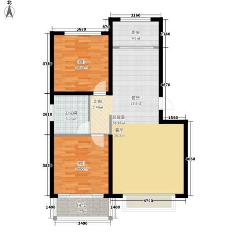 济南玫瑰园新城2室0厅1卫1厨85.00㎡户型图