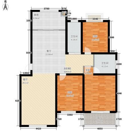 济南玫瑰园新城3室0厅2卫1厨140.00㎡户型图