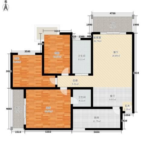 山景明珠花园3室0厅2卫1厨148.00㎡户型图