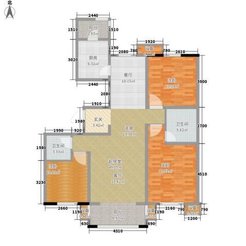 长安信合小区3室0厅2卫1厨156.00㎡户型图