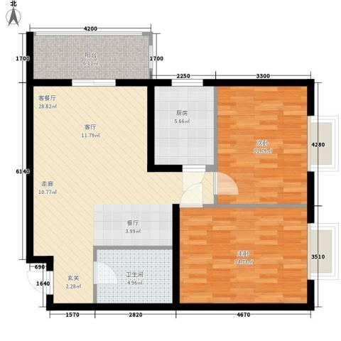 乾唐雁月2室1厅1卫1厨80.00㎡户型图