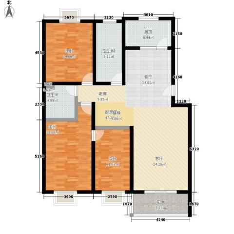 山景明珠花园3室0厅2卫1厨166.00㎡户型图