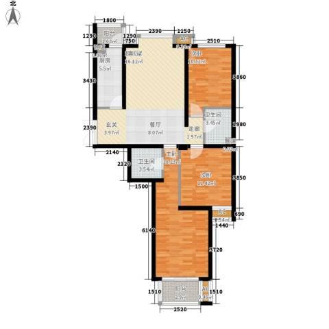 银丰山庄3室0厅2卫1厨127.00㎡户型图
