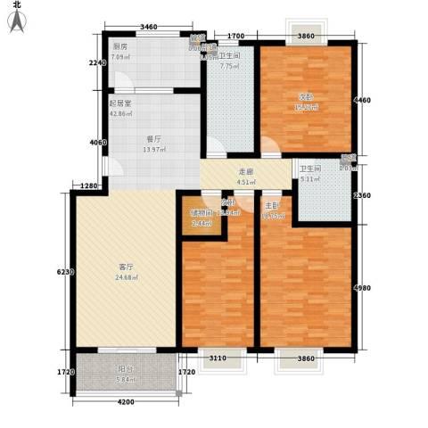山景明珠花园3室0厅2卫1厨149.00㎡户型图