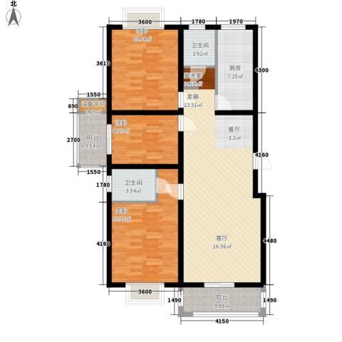 乾唐雁月3室1厅2卫1厨135.00㎡户型图