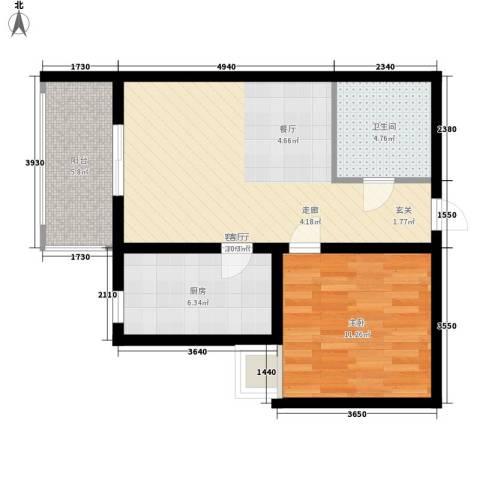 乾唐雁月1室1厅1卫1厨57.00㎡户型图