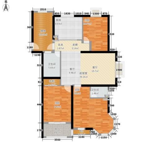 银河湾3室0厅2卫1厨123.00㎡户型图