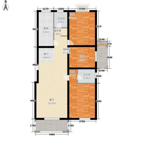 乾唐雁月3室1厅2卫1厨132.00㎡户型图