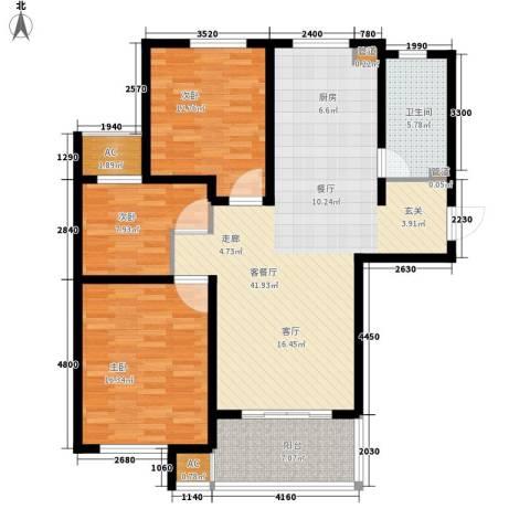 新创理想城3室1厅1卫0厨108.00㎡户型图