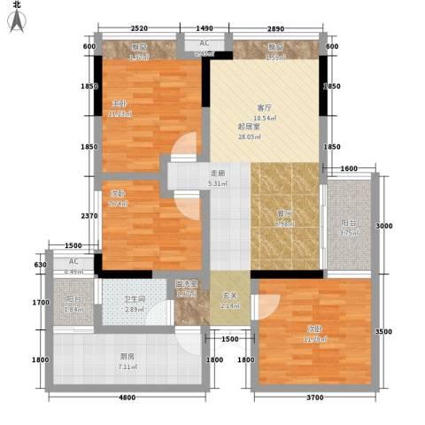金科公园王府3室0厅1卫1厨78.00㎡户型图