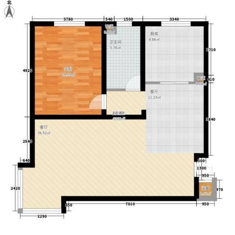 山景明珠花园1室0厅1卫1厨87.00㎡户型图