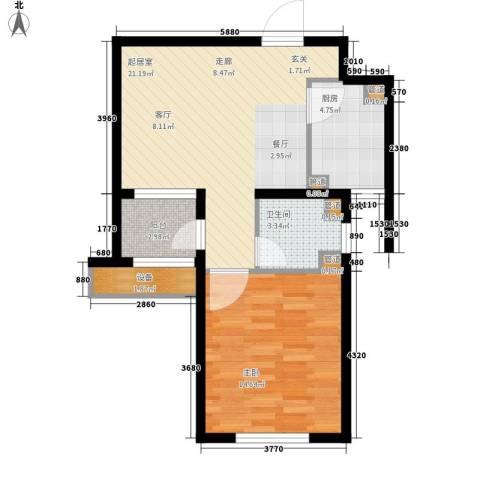 丽景御园1室0厅1卫1厨71.00㎡户型图