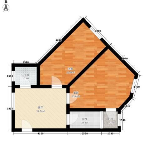 甘家口小区2室1厅1卫1厨61.00㎡户型图