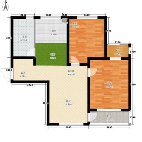 新创理想城2室1厅1卫0厨96.00㎡户型图