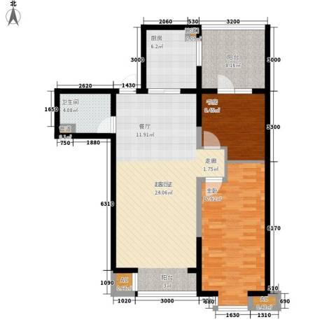 水木清华2室0厅1卫1厨88.00㎡户型图