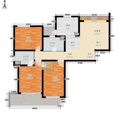 嘉业阳光假日3室0厅2卫1厨142.00㎡户型图