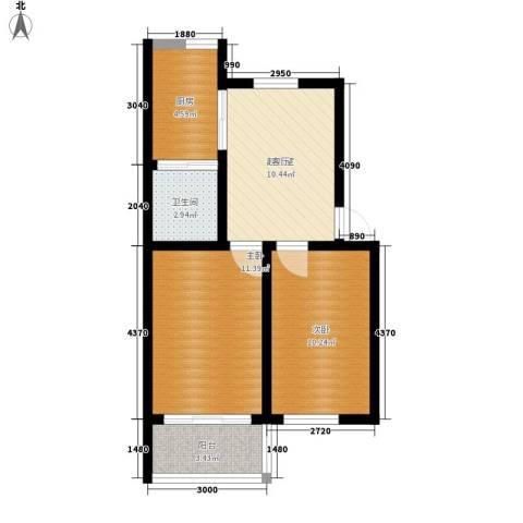 于台小区2室0厅1卫1厨64.00㎡户型图